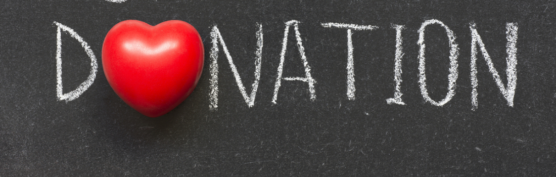 donation with heart as the first letter 'O'